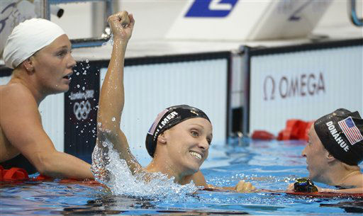 "<div class=""meta ""><span class=""caption-text "">United States' Dana Vollmer, center, reacts after winning gold and setting a world record in the women's 100-meter butterfly swimming final at the Aquatics Centre in the Olympic Park during the 2012 Summer Olympics in London, Sunday, July 29, 2012. Vollmer set a new world record with a time of 55.98. (AP Photo/Mark J. Terrill) (AP Photo/ Mark J. Terrill)</span></div>"