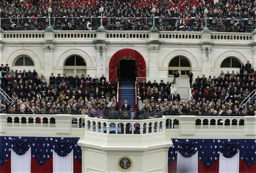 President Barack Obama speaks at the ceremonial swearing-in at the U.S. Capitol during the 57th Presidential Inauguration in Washington, Monday, Jan. 21, 2013. &#40;AP Photo&#47;Pablo Martinez Monsivais&#41; <span class=meta>(AP Photo&#47; Pablo Martinez Monsivais)</span>