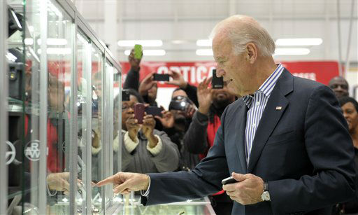 "<div class=""meta ""><span class=""caption-text "">Vice President Joe Biden looks at watches in the jewelry section while shopping at a Costco in Washington, Thursday, Nov. 29, 2012. Biden went shopping for presents and to highlight the importance of renewing middle-class tax cuts so families and businesses have more certainty at this critical time for our economy. (AP Photo/Susan Walsh) (AP Photo/ Susan Walsh)</span></div>"