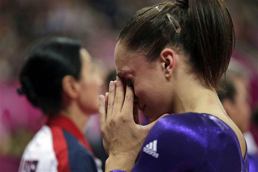 U.S. gymnast Jordyn Wieber cries after she failed to qualify for the women&#39;s all-around finals during the Artistic Gymnastics women&#39;s qualification at the 2012 Summer Olympics, Sunday, July 29, 2012, in London. &#40;AP Photo&#47;Gregory Bull&#41; <span class=meta>(AP Photo&#47; Gregory Bull)</span>