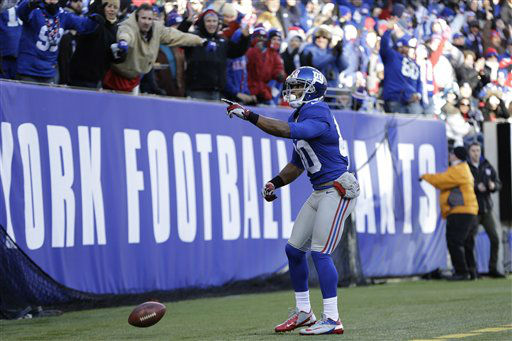 "<div class=""meta ""><span class=""caption-text "">New York Giants wide receiver Victor Cruz (80) celebrates catching a touchdown pass during the first half of an NFL football game against the Philadelphia Eagles Sunday, Dec. 30, 2012 in East Rutherford, N.J. (AP Photo/Kathy Willens) (AP Photo/ Kathy Willens)</span></div>"
