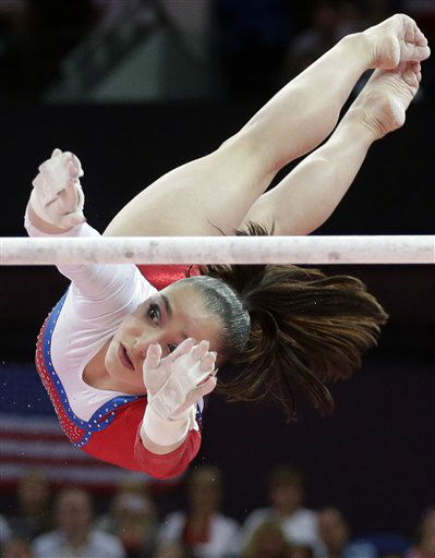 Russian gymnast Aliya Mustafina performs on the uneven bars during the artistic gymnastics women&#39;s apparatus finals at the 2012 Summer Olympics, Monday, Aug. 6, 2012, in London. &#40;AP Photo&#47;Julie Jacobson&#41; <span class=meta>(AP Photo&#47; Julie Jacobson)</span>