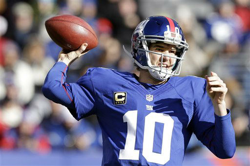 "<div class=""meta ""><span class=""caption-text "">New York Giants quarterback Eli Manning (10) throws a pass during the first half of an NFL football game against the Philadelphia Eagles Sunday, Dec. 30, 2012 in East Rutherford, N.J. (AP Photo/Kathy Willens) (AP Photo/ Kathy Willens)</span></div>"