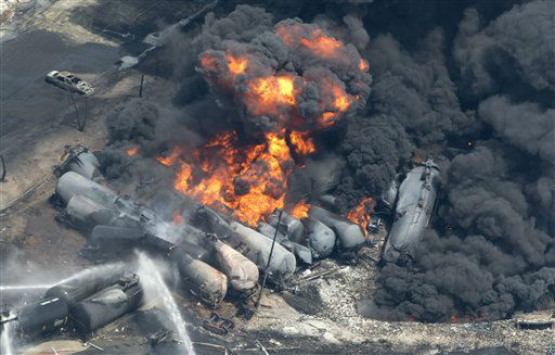 "<div class=""meta ""><span class=""caption-text "">Smoke rises from railway cars that were carrying crude oil after derailing in downtown  Lac Megantic, Que., Saturday, July 6, 2013.  A large swath of Lac Megantic was destroyed Saturday after a train carrying crude oil derailed, sparking several explosions and forcing the evacuation of up to 1,000 people. (AP Photo/The Canadian Press, Paul Chiasson) (AP Photo/ Paul Chiasson)</span></div>"