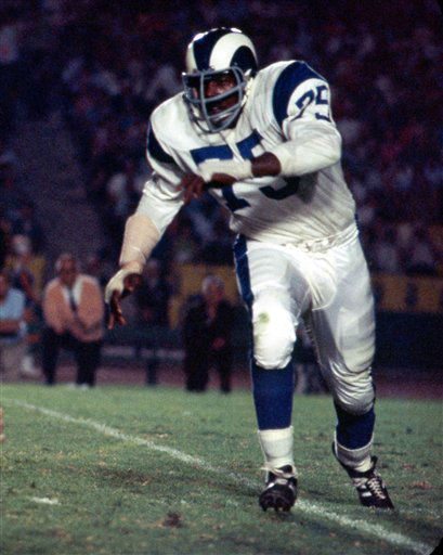 Los Angeles Rams Hall of Fame defensive end David &#34;Deacon&#34; Jones &#40;75&#41; runs in pursuit during game against the Cleveland Browns at the Los Angeles Coliseum, Aug. 6, 1966. The Rams defeated the Browns 16-6.  &#40;AP Photo&#47;NFL Photos&#41; <span class=meta>(AP Photo&#47; Uncredited)</span>