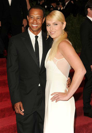 "Professional golfer Tiger Woods and girlfriend professional skier Lindsey Vonn attend The Metropolitan Museum of Art Costume Institute gala benefit, ""Punk: Chaos to Couture"", on Monday, May 6, 2013 in New York. (Photo by Evan Agostini/Invision/AP)"