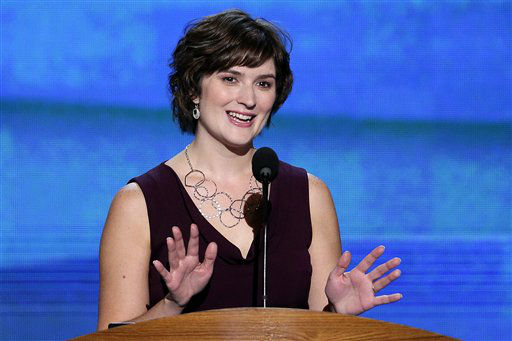 Sandra Fluke, attorney and women&#39;s rights activist addresses the Democratic National Convention in Charlotte, N.C., on Wednesday, Sept. 5, 2012. &#40;AP Photo&#47;J. Scott Applewhite&#41; <span class=meta>(AP Photo&#47; J. Scott Applewhite)</span>
