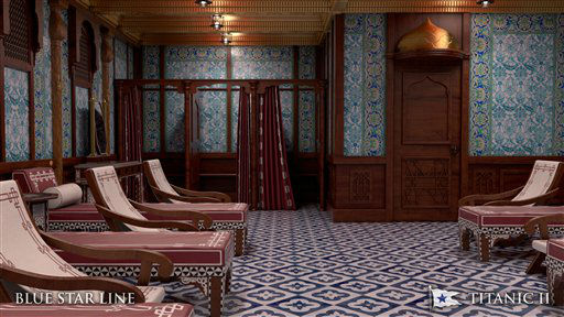 "<div class=""meta ""><span class=""caption-text "">In this rendering provided by Blue Star Line, the Turkish bath on the Titanic II is shown. The ship, which Australian billionaire Clive Palmer is planning to build in China, is scheduled to sail in 2016. Palmer said his ambitious plans to launch a copy of the Titanic and sail her across the Atlantic would be a tribute to those who built and backed the original. (AP Photo/Blue Star Line) (AP Photo/ Uncredited)</span></div>"