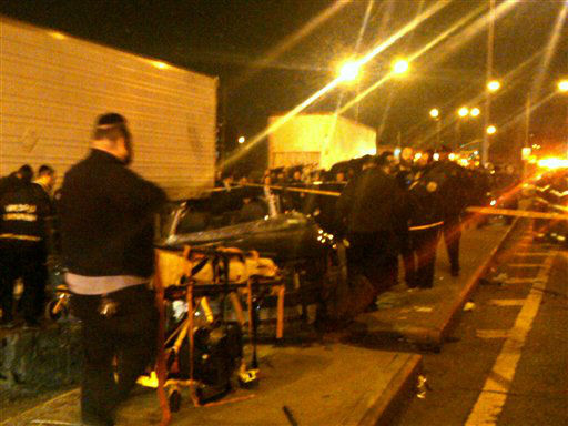 "<div class=""meta image-caption""><div class=""origin-logo origin-image ""><span></span></div><span class=""caption-text"">In this photo provided by VosIzNeias.com, first responders work at the scene shortly after a car accident in Brooklyn's Williamsburg neighborhood took the lives of an expectant couple Sunday, March 3, 2013, in New York. The young couple who had taken a car service to a hospital for the birth of their first child were killed en route in a hit and run early, but their baby boy survived, authorities said. (AP Photo/VosIzNeias.com, Eli Wohl) MANDATORY CREDIT (AP Photo/ Eli Wohl)</span></div>"