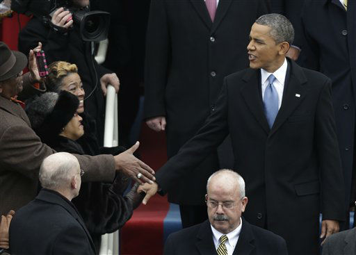 "<div class=""meta ""><span class=""caption-text "">President Barack Obama arrives for his ceremonial swearing-in at the U.S. Capitol during the 57th Presidential Inauguration in Washington, Monday, Jan. 21, 2013. (AP Photo/Pablo Martinez Monsivais) (AP Photo/ Pablo Martinez Monsivais)</span></div>"