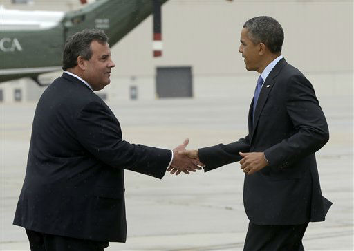 "<div class=""meta ""><span class=""caption-text "">New Jersey Gov. Chris Christie greets President Barack Obama upon his arrival at McGuire Air Force Base, N.J., Tuesday, May 28, 2013. Obama traveled to New Jersey joining Christie to inspect and tour the Jersey Shore?s recovery efforts from Hurricane Sandy. (AP Photo/Pablo Martinez Monsivais) (AP Photo/ Pablo Martinez Monsivais)</span></div>"