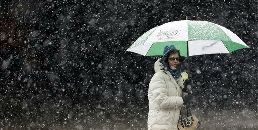 A woman stays dry under an umbrella during a winter storm in Buffalo, N.Y., Friday, Feb. 8, 2013. In some upstate areas, snow fell early Friday morning and was expected to increase throughout the day, with the heaviest accumulations expected in eastern New York on Friday night. &#40;AP Photo&#47;David Duprey&#41; <span class=meta>(Photo&#47;David Duprey)</span>
