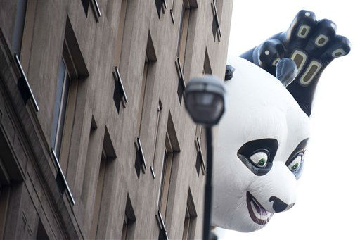 "<div class=""meta ""><span class=""caption-text "">The Kung Fu Panda balloon floats in the Macy's Thanksgiving Day Parade in New York, Thursday, Nov. 22, 2012. The American harvest holiday came as portions of the Northeast were still coping with the wake of Superstorm Sandy, and volunteers planned to serve thousands of turkey dinners to people it left homeless or struggling. (AP Photo/Charles Sykes) (AP Photo/ Charles Sykes)</span></div>"