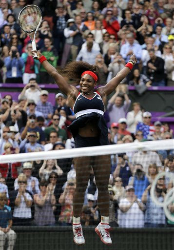 "<div class=""meta ""><span class=""caption-text "">United States' Serena Williams celebrates after defeating Maria Sharapova of Russia to win the women's singles gold medal match at the All England Lawn Tennis Club at Wimbledon, in London, at the 2012 Summer Olympics, Saturday, Aug. 4, 2012. (AP Photo/Elise Amendola) (AP Photo/ Elise Amendola)</span></div>"