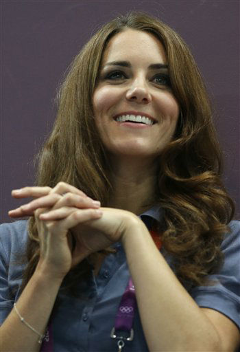 Kate, Duchess of Cambridge, watches the women&#39;s handball preliminary match between Croatia and Britain at the 2012 Summer Olympics, Sunday, Aug. 5, 2012, in London. &#40;AP Photo&#47;Matthias Schrader&#41; <span class=meta>(AP Photo&#47; Matthias Schrader)</span>