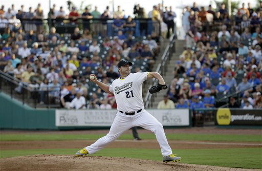 Sugar Land Skeeters Roger Clemens throws a pitch during a baseball game against the Bridgeport Bluefish Saturday, Aug. 25, 2012, in Sugar Land, Texas. Clemens, a seven-time Cy Young Award winner, signed with the Skeeters of the independent Atlantic League this week. &#40;AP Photo&#47;David J. Phillip&#41; <span class=meta>(AP Photo&#47; David Phillip)</span>