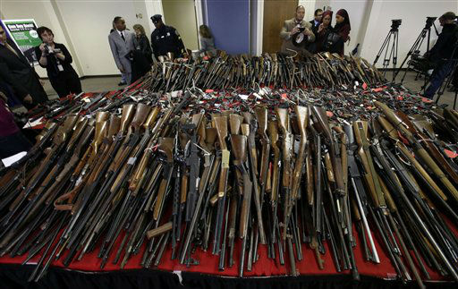 "<div class=""meta image-caption""><div class=""origin-logo origin-image ""><span></span></div><span class=""caption-text"">Guns are displayed on tables in Camden, N.J., Tuesday, Dec. 18, 2012, after New Jersey Attorney General Jeffrey Chiesa announced that last weekend's gun buyback event brought in more than 1,100 guns. He says it appears that the mass killing at a school in Newtown, Conn., may have motivated some to turn in their weapons for up to $250 each.(AP Photo/Mel Evans) (AP Photo/ Mel Evans)</span></div>"