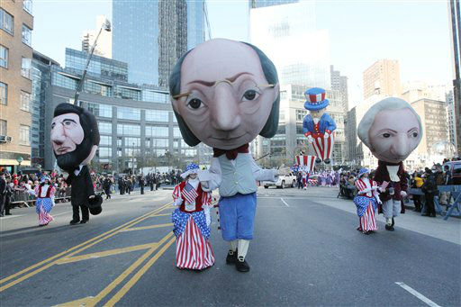 Costumed parade participants march in the 86th Annual Macy&#39;s Thanksgiving Day Parade Thursday Nov. 22, 2012, in New York. The annual Macy&#39;s Thanksgiving Day Parade put a festive mood in the air in a city still coping with the aftermath of Superstorm Sandy.  &#40;AP Photo&#47;Tina Fineberg&#41; <span class=meta>(AP Photo&#47; Tina Fineberg)</span>
