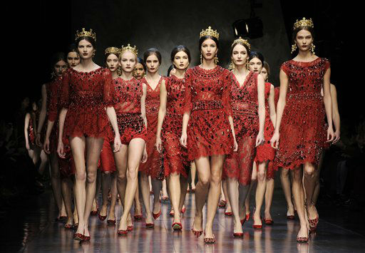 "<div class=""meta ""><span class=""caption-text "">Models wear creations for Dolce & Gabbana women's Fall-Winter 2013-14 collection, part of the Milan Fashion Week, unveiled in Milan, Italy, Sunday, Feb. 24, 2013. (AP Photo/Giuseppe Aresu)</span></div>"
