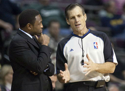 FILE - In this Feb. 12, 2012, file photo, New Jersey Nets coach Avery Johnson, left, listens to official Greg Willard during the second half of an NBA basketball game against the Detroit Pistons in Auburn Hills, Mich. Willard, a longtime referee in the NBA, died Monday, April 1, 2013, less than a year after he was diagnosed with pancreatic cancer, the NBA said. He was 54. &#40;AP Photo&#47;Duane Burleson, File&#41; <span class=meta>(AP Photo&#47; Duane Burleson)</span>