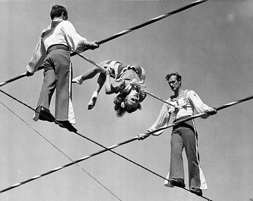 The Wallenda family practices on a 90 foot high wire at the Ringling Bros. and Barnum &amp; Bailey&#39;s winter headquarters in Sarasota, Fla., on March 19, 1942.  &#40;AP Photo&#41; <span class=meta>(AP Photo&#47; Anonymous)</span>