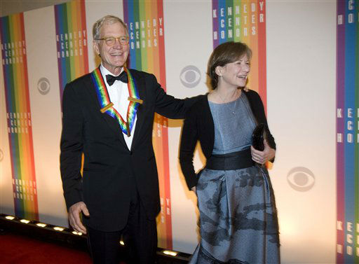 "<div class=""meta image-caption""><div class=""origin-logo origin-image ""><span></span></div><span class=""caption-text"">2012 Kennedy Center Honoree David Letterman, and his wife, Regina, arrive at the Kennedy Center for the Performing Arts for the 2012 Kennedy Center Honors Performance and Gala Sunday, Dec. 2, 2012 at the State Department in Washington. (AP Photo/Kevin Wolf) (AP Photo/ Kevin Wolf)</span></div>"