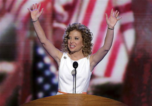 Democratic National Committee Chairwoman Rep. Debbie Wasserman Schultz, from Florida, waves as she opens the Democratic National Convention in Charlotte, N.C., on Tuesday, Sept. 4, 2012. &#40;AP Photo&#47;J. Scott Applewhite&#41; <span class=meta>(AP Photo&#47; J. Scott Applewhite)</span>