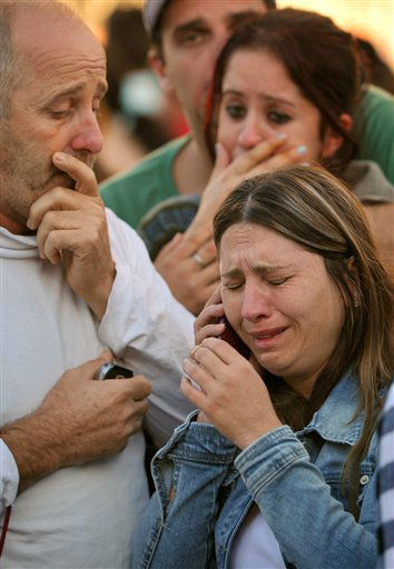 ALTERNATIVE CROP OF XSI107.- Relatives of victims react as they wait for news near the Kiss nightclub in Santa Maria city,  Rio Grande do Sul state, Brazil, Sunday, Jan. 27, 2013.  According to police more than 200 died in the devastating nightclub fire in southern Brazil.  Officials say the fire broke out at the club while a band was performing. &#40;AP Photo&#47;Ronald Mendes-Agencia RBS&#41; <span class=meta>(AP Photo&#47; Ronald Mendes)</span>