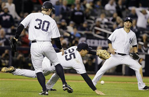 "<div class=""meta ""><span class=""caption-text "">New York Yankees' Mark Teixeira (25) and David Robertson (30) are unable to catch a fly ball hit by Baltimore Orioles' Mark Reynolds as Yankees' Eric Chavez, right, watches during the 12th inning of Game 3 of the American League division baseball series, Wednesday, Oct. 10, 2012, in New York. Reynolds was safe at first base on the play. The Yankees won  3-2. (AP Photo/Kathy Willens) (AP Photo/ Kathy Willens)</span></div>"