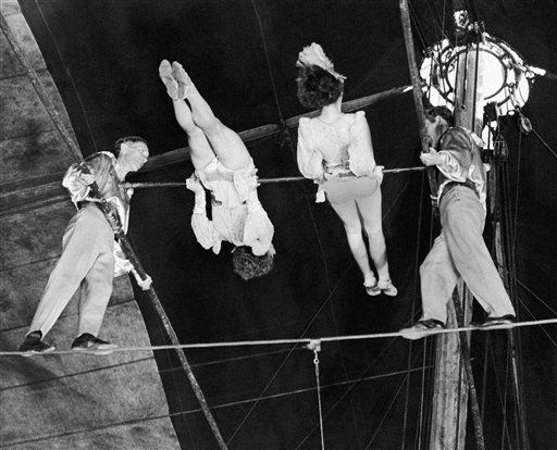The Wallendas, famous high wire act of the Ringling circus, went through their death-defying double pinwheel in Madison Square Garden, New York on April 15, 1944, with a new lineup because of post-divorce nervousness of Herman and Elizabeth. The new team, left to right are Herman, Henrietta, who replaced Elizabeth, Helen, and Karl. The act works without a net. &#40;AP Photo&#41; <span class=meta>(AP Photo&#47; IP SM, NC. KEY V, N. XMEH)</span>