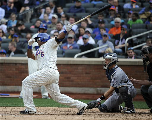 New York Mets&#39; Marlon Byrd &#40;6&#41; hits his first hit as a Met, an RBI single off of San Diego Padres starting pitcher Edinson Volquez,  in the third inning on Opening Day of a baseball game at Citi Field on Monday, April 1, 2013 in New York. &#40;AP Photo&#47;Kathy Kmonicek&#41; <span class=meta>(AP Photo&#47; Kathy Kmonicek)</span>