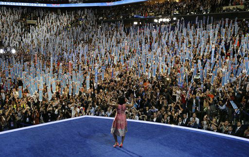 First Lady Michelle Obama walks on stage to speak to the Democratic National Convention in Charlotte, N.C., on Tuesday, Sept. 4, 2012. &#40;AP Photo&#47;Charlie Neibergall&#41; <span class=meta>(AP Photo&#47; Charlie Neibergall)</span>