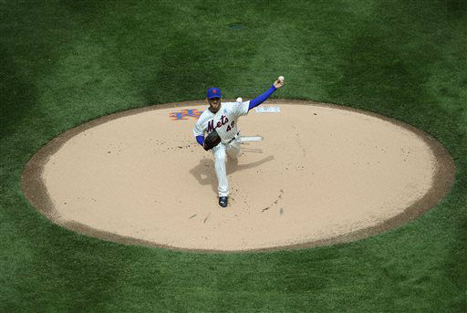 New York Mets starting pitcher Jonathon Niese &#40;49&#41; throws against the San Diego Padres during their opening day baseball game at Citi Field on Monday, April 1, 2013 in New York. &#40;AP Photo&#47;Kathy Kmonicek&#41; <span class=meta>(AP Photo&#47; Kathy Kmonicek)</span>