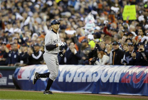 New York Yankees&#39; Alex Rodriguez runs back to the dugout after flying out in the sixth inning during Game 4 of the American League championship series against the Detroit Tigers Thursday, Oct. 18, 2012, in Detroit. &#40;AP Photo&#47;Matt Slocum&#41; <span class=meta>(AP Photo&#47; Matt Slocum)</span>
