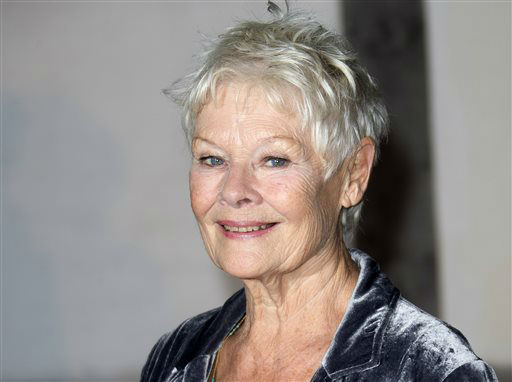 FILE - This Oct. 17, 2013 file photo shows British actress Judi Dench at the Globe Theatre in central London, for a Gala evening. Dench was nominated for a Golden Globe for best actress in a motion picture drama for her role in the film &#34;Philomena&#34; on Thursday, Dec. 12, 2013.  The 71st annual Golden Globes will air on Sunday, Jan. 12. &#40;Photo by Joel Ryan&#47;Invision&#47;AP, File&#41; <span class=meta>(Photo&#47;Joel Ryan)</span>