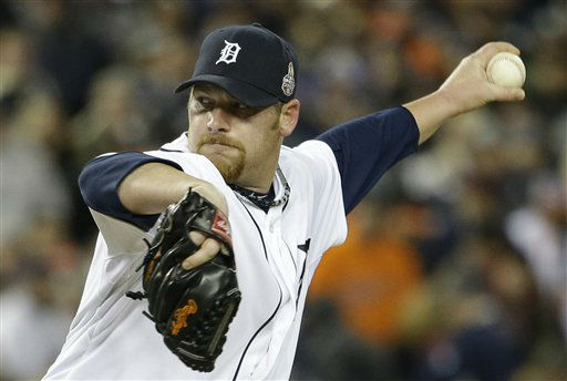 Detroit Tigers relief pitcher Phil Coke throws during the ninth inning of Game 3 of baseball&#39;s World Series against the San Francisco Giants Saturday, Oct. 27, 2012, in Detroit. &#40;AP Photo&#47;David J. Phillip&#41; <span class=meta>(AP Photo&#47; David J. Phillip)</span>