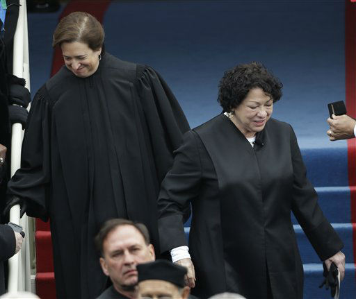 Associate Justices Elena Kagan, left, and Associate Justice Sonia Sotomayor arrive at the ceremonial swearing-in for President Barack Obama at the U.S. Capitol during the 57th Presidential Inauguration in Washington, Monday, Jan. 21, 2013. &#40;AP Photo&#47;Pablo Martinez Monsivais&#41; <span class=meta>(AP Photo&#47; Pablo Martinez Monsivais)</span>