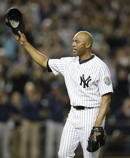 Mariano Rivera said goodbye to Yankee Stadium with hugs, tears and cheers.