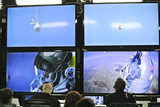 In this photo provided by Red Bull, pilot Felix Baumgartner of Austria is seen in a screen at mission control center in the capsule during the final manned flight for Red Bull Stratos in Roswell, N.M. on Sunday, Oct. 14, 2012.   Baumgartner plans to jump from an altitude of 120,000 feet, an altitude chosen to enable him to achieve Mach 1 in free fall, which would deliver scientific data to the aerospace community about human survival from high altitudes.&#40;AP Photo&#47;Red Bull, Stefan Aufschnaiter&#41; <span class=meta>(AP Photo&#47; Stefan Aufschnaiter)</span>