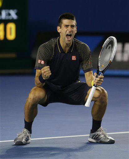 "<div class=""meta image-caption""><div class=""origin-logo origin-image ""><span></span></div><span class=""caption-text"">Serbia's Novak Djokovic celebrates his win over Britain's Andy Murray in the men's final at the Australian Open tennis championship in Melbourne, Australia, Sunday, Jan. 27, 2013. (AP Photo/Dita Alangkara)</span></div>"