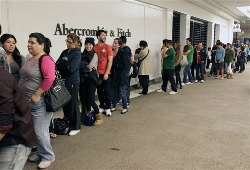 "<div class=""meta ""><span class=""caption-text "">Consumers line ouside the Abercrombie & Fitch clothing store, as consumers line on the early morning hours Friday, Nov. 23, 2012 at the Glendale Galleria mall in Glendale, Calif. While stores typically open in the wee hours of the morning on the day after Thanksgiving known as Black Friday, openings have crept earlier and earlier over the past few years. Now, stores from Wal-Mart to Toys R Us are opening their doors on Thanksgiving evening, hoping Americans will be willing to shop soon after they finish their pumpkin pie. (AP Photo/Damian Dovarganes) (AP Photo/ Damian Dovarganes)</span></div>"