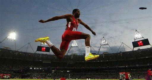 United States&#39; Christian Taylor competes in the men&#39;s triple jump final during the athletics in the Olympic Stadium at the 2012 Summer Olympics, in London, Thursday, Aug. 9, 2012. &#40;AP Photo&#47;Matt Dunham&#41; <span class=meta>(AP Photo&#47; Matt Dunham)</span>