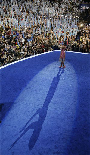 First lady Michelle Obama waves after speaking at the Democratic National Convention in Charlotte, N.C., on Tuesday, Sept. 4, 2012. &#40;AP Photo&#47;Charlie Neibergall&#41; <span class=meta>(AP Photo&#47; Charlie Neibergall)</span>