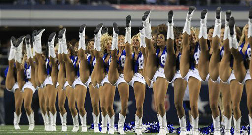Dallas Cowboys cheerleaders perform before the NFL football game between the Philadelphia Eagles and Dallas Cowboys Sunday, Dec. 2, 2012 in Arlington, Texas. &#40;AP Photo&#47;LM Otero&#41; <span class=meta>(AP Photo&#47; LM Otero)</span>