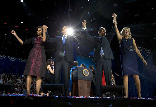 "<div class=""meta image-caption""><div class=""origin-logo origin-image ""><span></span></div><span class=""caption-text"">President Barack Obama, first lady Michelle Obama, Vice President Joe Biden and Jill Biden acknowledge the crowd at his election night party Wednesday, Nov. 7, 2012, in Chicago. President Obama defeated Republican challenger former Massachusetts Gov. Mitt Romney. (AP Photo/Carolyn Kaster) (AP Photo/ Carolyn Kaster)</span></div>"