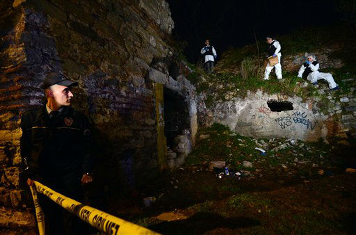 "<div class=""meta ""><span class=""caption-text "">Police forensics search for missing New York City woman Sarai Sierra near the remnants of some ancient city walls in low-income district of Sarayburnu in Istanbul, Turkey, late Saturday, Feb. 2, 2013. Turkey's state-run news agency said that she has been found dead in Istanbul and police have detained nine people in connection with the case. Sierra, a 33-year-old mother of two, went missing while vacationing alone in Istanbul. Her body was discovered late Saturday amid the city walls.(AP Photo) (AP Photo/ Uncredited)</span></div>"