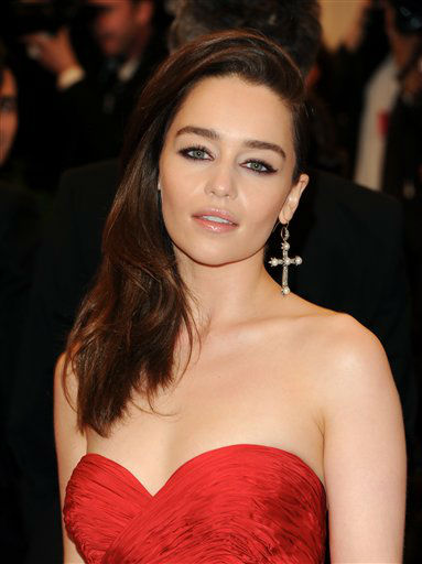 "Actress Emilia Clarke attends The Metropolitan Museum of Art Costume Institute gala benefit, ""Punk: Chaos to Couture"", on Monday, May 6, 2013 in New York. (Photo by Evan Agostini/Invision/AP)"