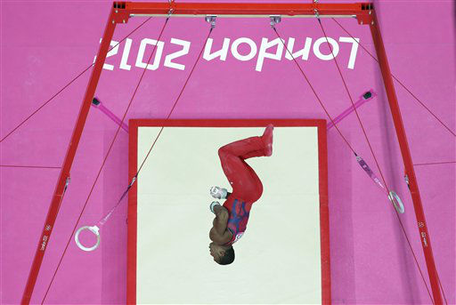 "<div class=""meta ""><span class=""caption-text "">U.S. gymnast John Orozco performs on the rings during the Artistic Gymnastic men's individual all-around competition at the 2012 Summer Olympics, Wednesday, Aug. 1, 2012, in London. (AP Photo/Julie Jacobson) (AP Photo/ Julie Jacobson)</span></div>"