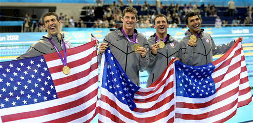 From left, United States&#39; Michael Phelps, United States&#39; Conor Dwyer, United States&#39; Ricky Berens and United States&#39; Ryan Lochte pose with their gold medals for the men&#39;s 4x200-meter freestyle relay swimming final at the Aquatics Centre in the Olympic Park during the 2012 Summer Olympics in London, Tuesday, July 31, 2012. &#40;AP Photo&#47;Mark J. Terrill&#41; <span class=meta>(AP Photo&#47; Mark J. Terrill)</span>