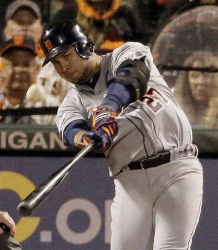 Detroit Tigers&#39; Jhonny Peralta hits a two run home run in the ninth inning of Game 1 of baseball&#39;s World Series, against the San Francisco Giants, Wednesday, Oct. 24, 2012, in San Francisco. &#40;AP Photo&#47;Charlie Riedel&#41; <span class=meta>(AP Photo&#47; Charlie Riedel)</span>